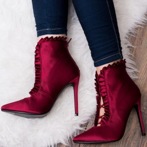 Burgundy Satin Ruffle Pointy Toe Stiletto Heels Ankle Booties