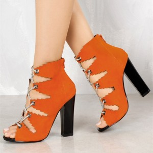 Fashion Orange Lace Up Summer Boots Suede Peep Toe Chunky Heel Sandals