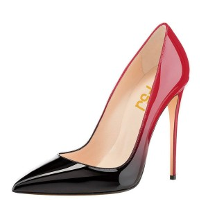 Red and Black Gradient Office Heels Pointy Toe Patent Leather Pumps
