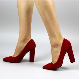 Fashion Red Pointy Toe Velvet Chunky Heels Pumps for Office Ladies