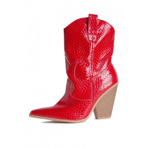 Fashion Red Python Block Heel Ankle Boots