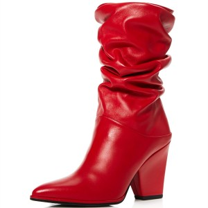 Fashion Red Slouch Patent Leather Boots Chunky Heels Mid Calf Boots