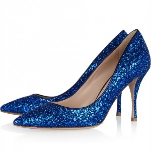 Women's Fashion Royal Blue Heels Cone Heels Pointy Toe Glitter Pumps