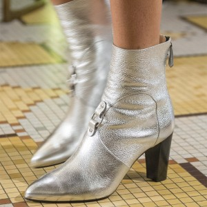 Fashion Silver Chunky heel Boots Classical Zip Pointy Toe Ankle Boots