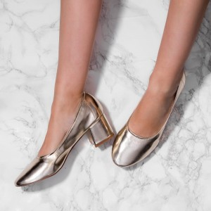 Fashion Champagne Chunky Heels Round Toe Patent Leather Pumps by FSJ