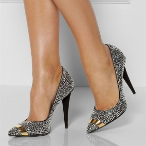 Black Rhinestone Heels Pointy Toe Pumps Evening Shoes for Prom