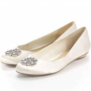 White Satin Ballet Flats Rhinestone Comfortable Wedding Shoes