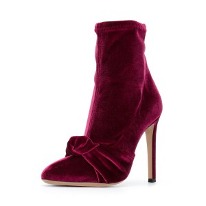 FSJ Burgundy Boots Pointy Toe Stiletto Heel Velvet Bow Ankle Booties