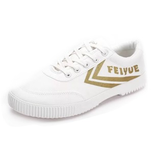 Fei Yue White Lace Up Sneakers with Gold Letters