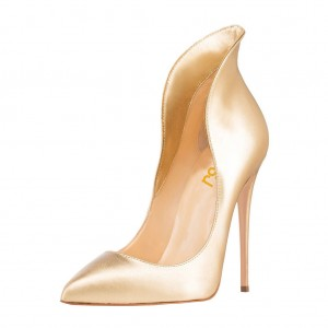 Women's Chic Golden Stiletto Heels Evening Shoes Formal Pumps