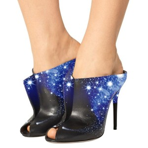 Night Sky Evening Shoes Key Hole Mules Sandals Stiletto Heels