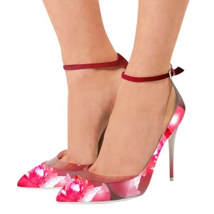 Violet Plume Printed Ankle Strap Stiletto Heel Pumps