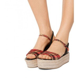 Red Plaid Platform Sandals Open Toe Slingback Sandals