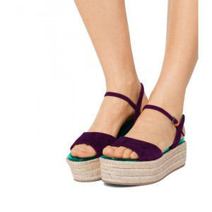 FSJ Purple Suede Open Toe Platform Sandals for Summer