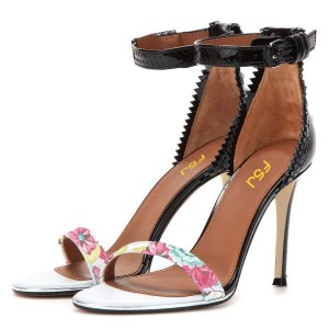 Floral Ankle Strap Sandals Open Toe Stiletto Heels