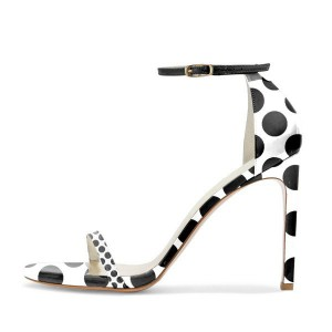 Black and White Heels Polka Dots Ankle Strap Stiletto Heels Sandals