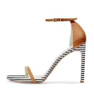 Women's Black and White Stripes Pencil Heel Ankle Strap Sandals