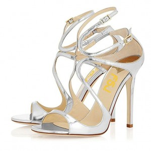 Silver Metallic Heels Peep Toe Strappy Sandals by FSJ