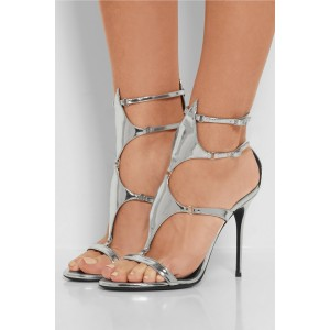 Silver Gladiator Sandals Mirror Leather Stiletto High Heels