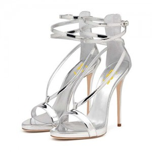 Silver Metallic Heels Open Toe Stiletto Heel Strappy Sandals by FSJ