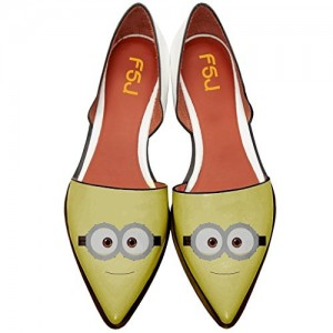Women's Minions Comfortable Pointy Toe Flats Slip-on Dorsay Pumps