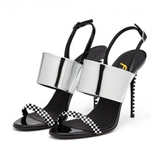Women Stiletto Heel Slingbacks Sandals Glossy Shoes Patent Leather Plaid Heels