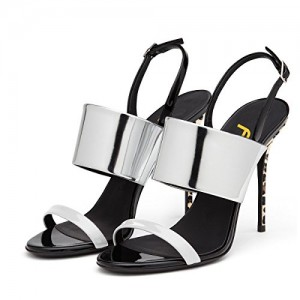 Women Stiletto Heel Slingbacks Sandals Glossy Shoes Patent Leather White Heels