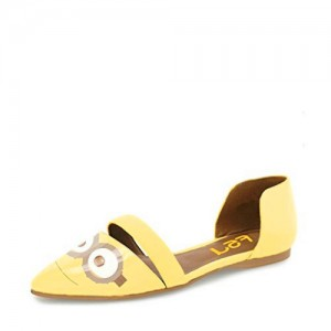 Yellow Pointy Toe Flats Patent Leather  Minions Double D'orsay Shoes