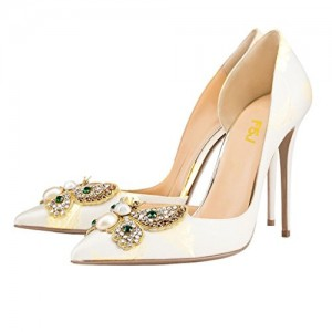 Women's White Rhinestone Stiletto Heel PumpsPointed Toe Wedding Shoes