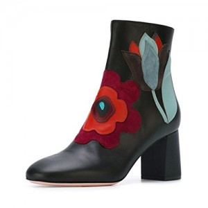 Black Fashion Round Toe Chunky Heel Ankle High Boots with Zipper Floral Shoes
