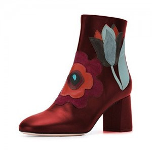 Women's Red Round Toe with Zipper Floral Ankle Chunky Heel Boots
