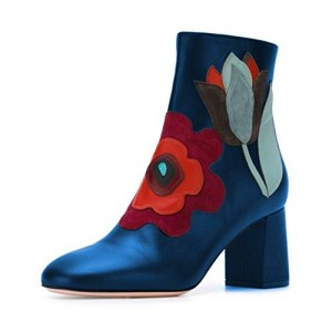 Blue Chunky Heel Boots Round Toe Floral Shoes
