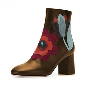 Woman Round Toe Chunky Heel Ankle High Boots with Zipper Floral Shoes