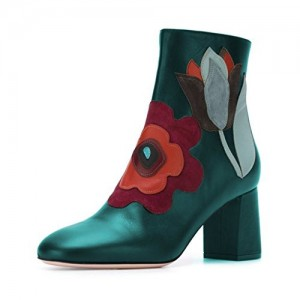 Elegant Round Toe Chunky Heel Ankle High Boots with Zipper Floral Shoes