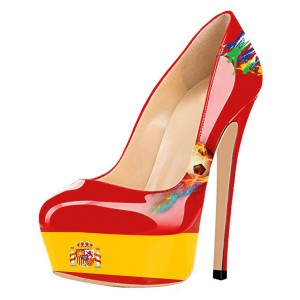 Football Lover Spain Design Red Platform Heels Stiletto Heels Pumps