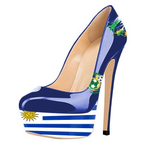 Football Lover Uruguay Design Royal Blue Heels Platform Pumps