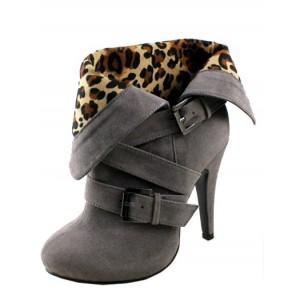 Cheetah Print Ankle Boots Grey