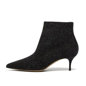 FSJ Black Glitter Pointy Toe Short Kitten Heel Boots