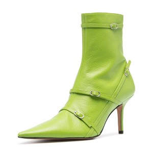 FSJ Lime Green Buckle Boots Pointy Toe Ankle Booties