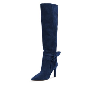 FSJ  Navy Blue Boots Suede Bow Detailed Calf Length Fall Boots