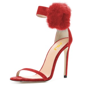 FSJ Red Fur Heels Ankle Strap Open Toe Suede Stiletto Heel Sandals