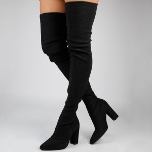 FSJ Shoes Black Suede Slouch Long Boots Chunky Heels Thigh-high Boots