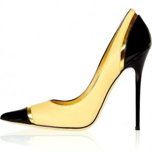 FSJ Shoes Yellow and Black Stiletto Heels Pointy Toe Pumps for Ladies