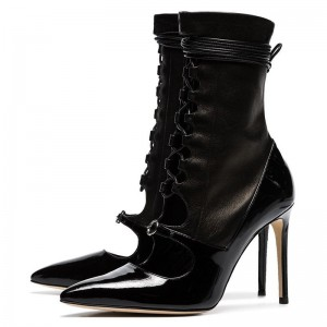 FSJ Spring Black Lace up Sexy Stiletto Boots Buckles Ankle Booties