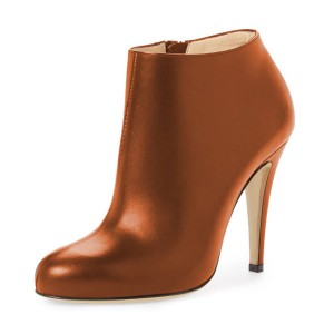 FSJ Tan Boots Chunky Heel Fashion Work Ankle Booties