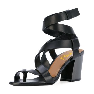 Black Strappy Sandals Toe-knob Block Heels
