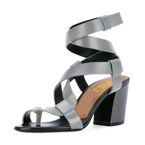 Grey Strappy Sandals Toe-knob Block Heels