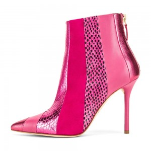 Fuchsia Python Suede Stiletto Boots Ankle Boots