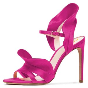 Magenta Wedding Heels Satin Open Toe Ruffle High Heel Sandals