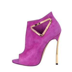 Fuchsia Peep Toe Booties Suede Stiletto Heel Fashion Boots